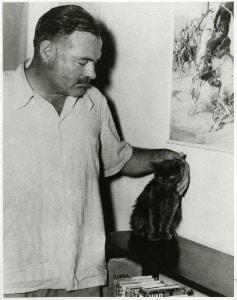 Ernest Hemingway patting cat
