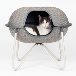 cat sleeping in pod cat bed herringbone