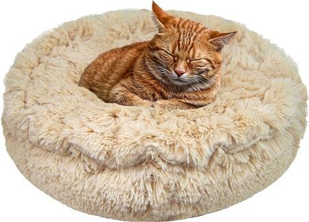 3Bessie + Barnie Ultra Plush Blondie Luxury Shag Deluxe Lily Pod Pillow Cat & Dog Bed