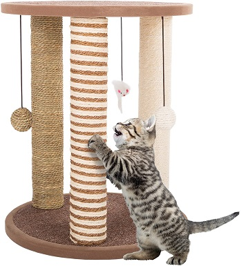 4Cat Scratching Post Tower with 3 Scratcher Posts