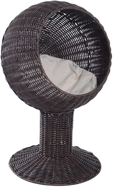 7Pawhut 28 Hooded Rattan Wicker Elevated Cat Bed