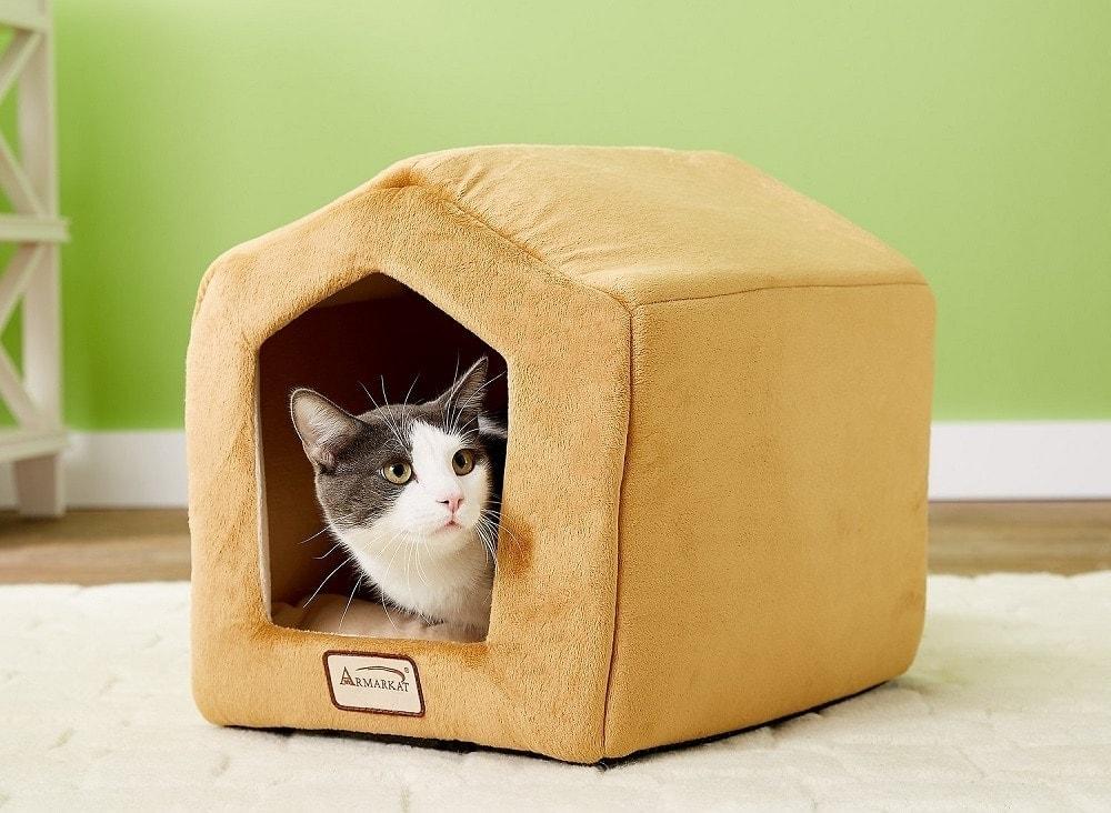 Armarkat Cave Shape Covered Cat & Dog Bed, Brown-Beige