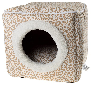 Cat Pet Bed Cave- Indoor Enclosed Covered Cavern-House for Cats Kittens and Small Pets with Removable Cushion Pad by PETMAKER
