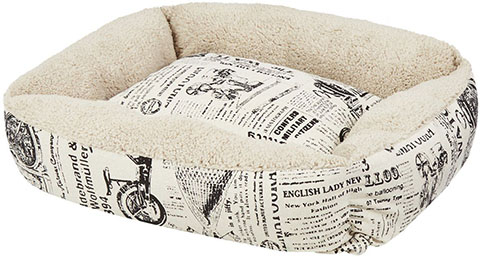 Paws & Pals 1800's Newspaper Bolster Cat & Dog Bed