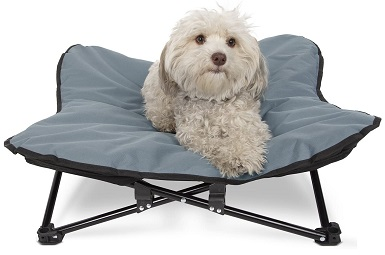 Paws & Pals Elevated Dog Bed, Indoor - Outdoor Pet Camping Raised Cot for Small or Medium Dogs & Cat with Folding Metal Frame and Off Ground Cooling Hammock