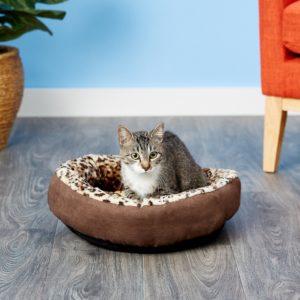 cat in Aspen Pet Round Animal Print Bolster Cat & Dog Bed