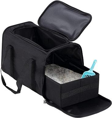 Petleader Collapsible Portable Cat Litter Box Black