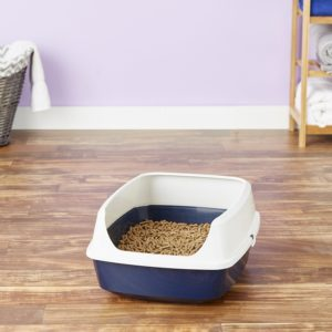 Simply Pine Unscented All-Natural Pine Pellet Cat Litter in litter box