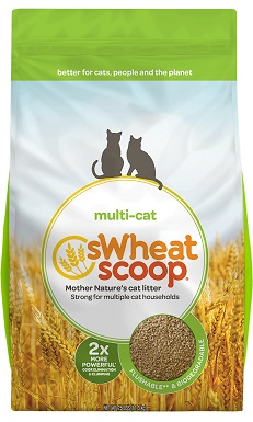 sWheat Scoop Multi-Cat Unscented Clumping Wheat Cat Litter
