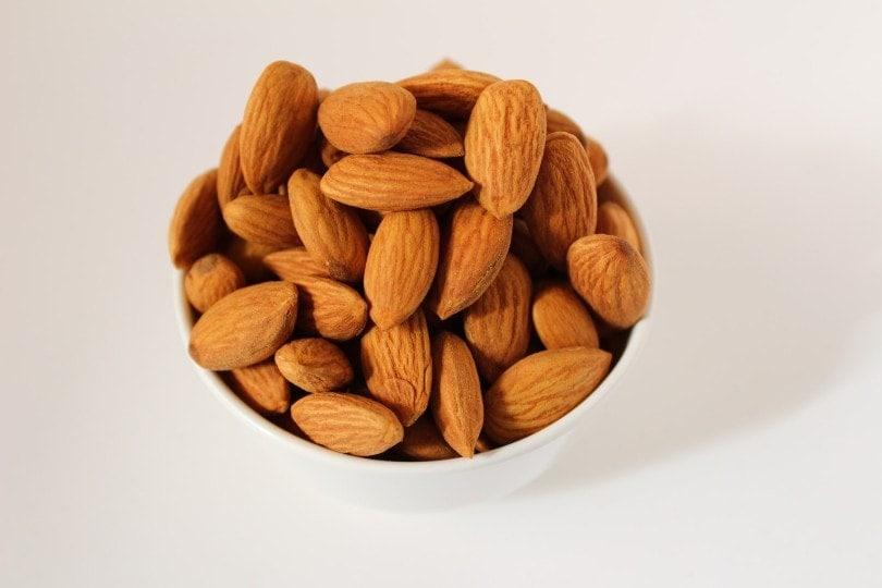 almonds in a white bowl